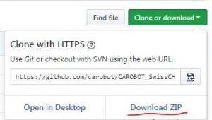 How to download the zip through Github.