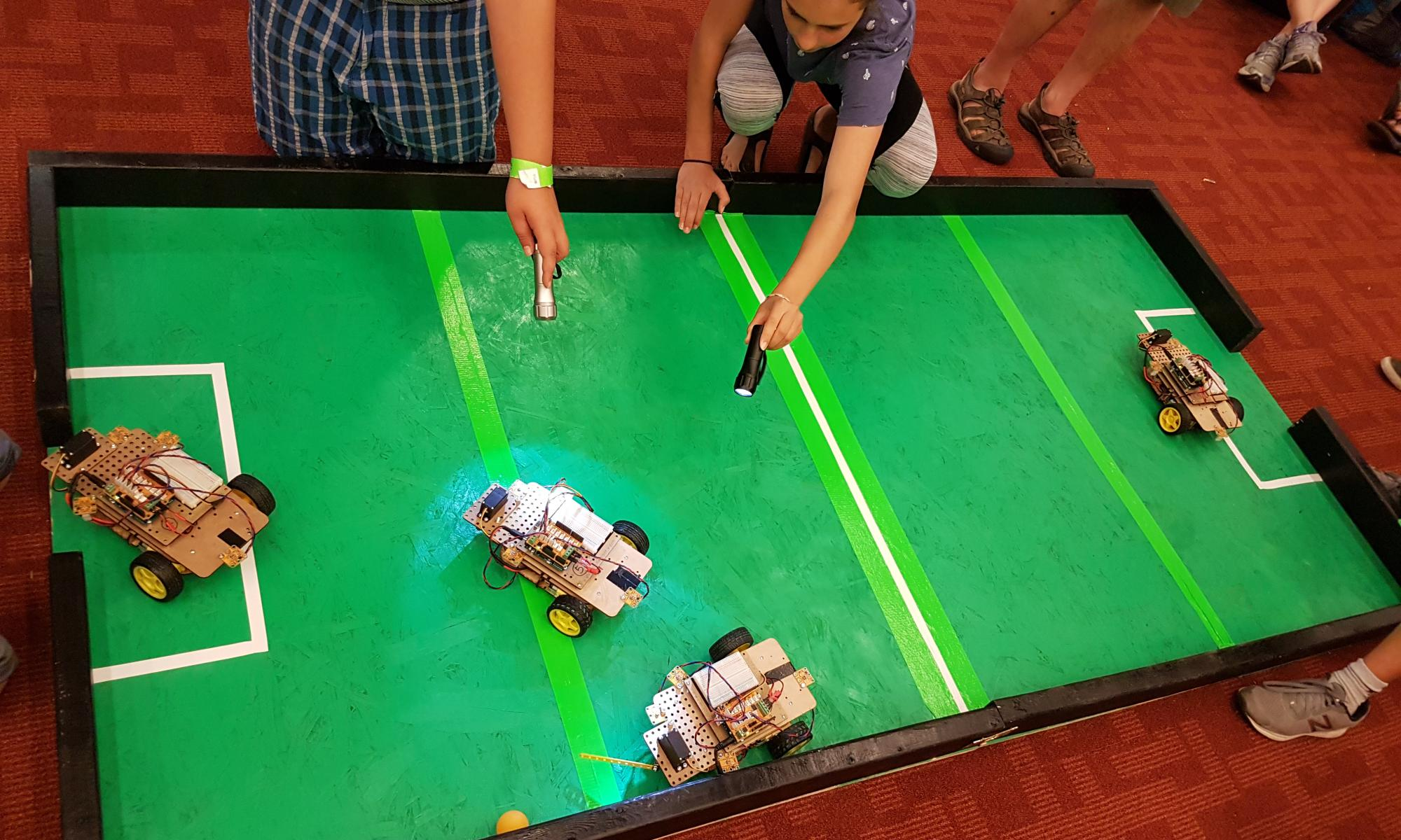 The robot soccer game at Maker Festival 2018.