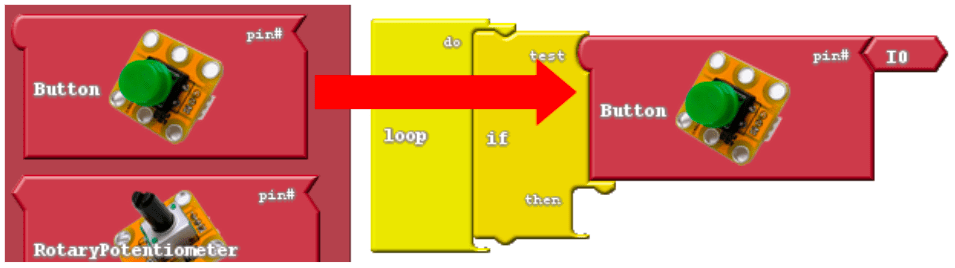 """Adding a Button block into the test slot of the """"if"""" block."""