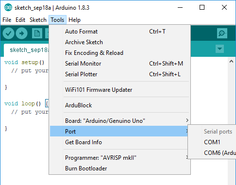 A screenshot of how to find the Port option in the Tools menu.