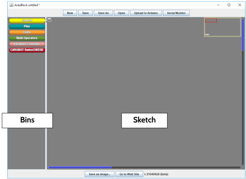 A screenshot labelling the bins and sketch area of the CarduBlock interface.