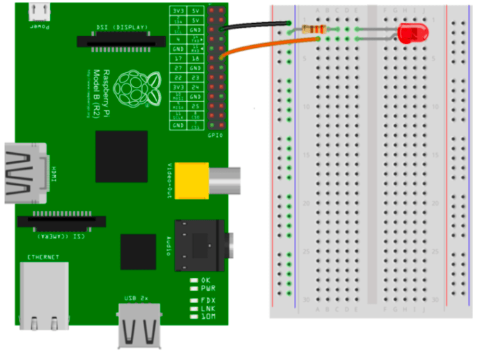 A diagram of the breadboard setup for our blinking LED project.